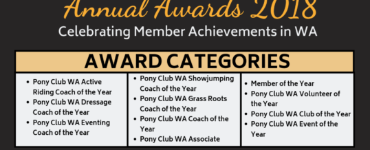 Pony Club WA Annual Awards 2018 – Nominations Open!